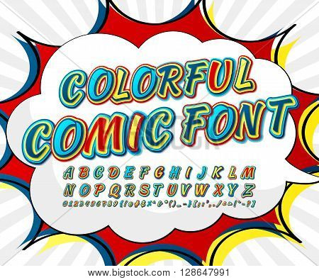 Creative multicolored high detail comic font. Alphabet in style of comics, pop art. Multilayer funny letters and figures for decoration of illustrations, websites, posters, comics, banners