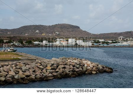 Petroleum tanks on the tropical coast of st kitts
