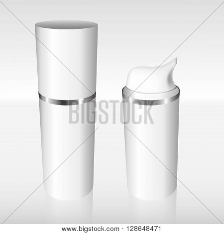 White Airless Bottle With A Silver Ring