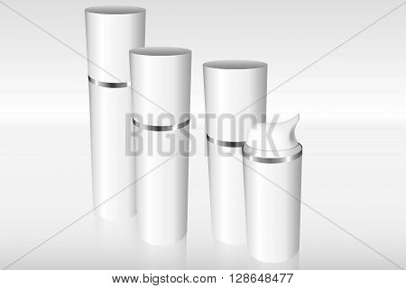 Four Airless Bottles With A Silver Ring