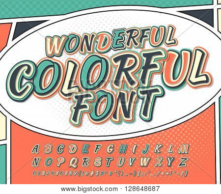 Wonderful multicolored high detail comic font and comic book page. Alphabet in style of comics, pop art. Multilayer letters and figures for illustrations, websites, posters, comics, banners