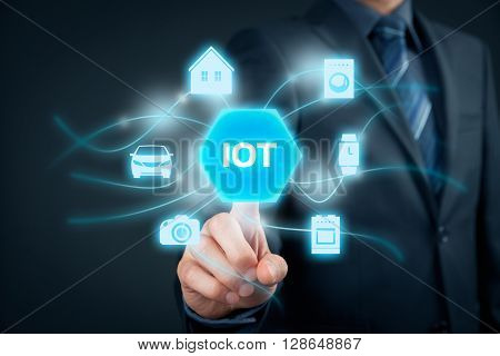 Internet of things (IoT) concept. Businessman click on IoT button connected with icons of typical IoT - intelligent house car camera watch washing machine and cooker.