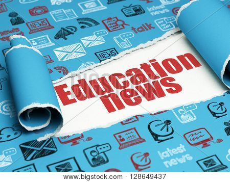 News concept: red text Education News under the curled piece of Blue torn paper with  Hand Drawn News Icons, 3D rendering