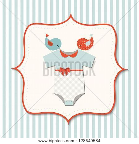 Baby shower with cute baby bodysuit and birds, vector  illustration, eps 10 with transparency