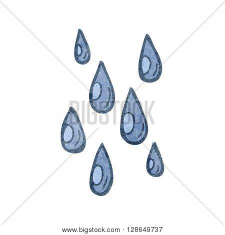 freehand retro cartoon raindrops