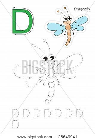Vector exercise illustrated alphabet. Learn handwriting. Gaming and education. Page to be traced. Kid game. Complete english alphabet. Tracing worksheet for letter D. Dragonfly.