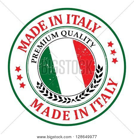 Made in Italy grunge printable label, with Italian flag colors and map. CMYK colors used.