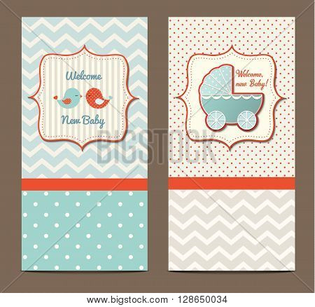 Two baby showers with cute birds and stroller, vector illustration, eps 10 with tranparency