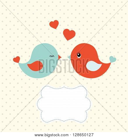 Abstract template with two cu colorfulte birds and blank frame for your own text,  vector illustration, eps 10 with transparency