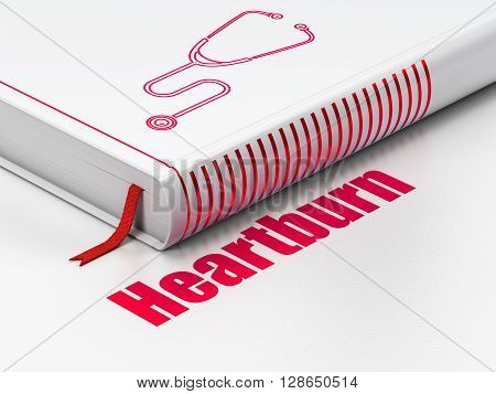 Healthcare concept: closed book with Red Stethoscope icon and text Heartburn on floor, white background, 3D rendering