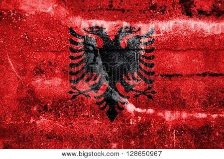 Albania Flag painted on grunge wall. Vintage and old look.