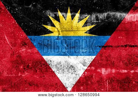 Antigua and Barbuda Flag, painted on old, dirty wall