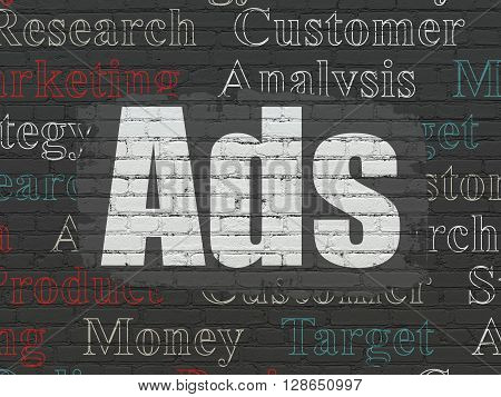 Marketing concept: Painted white text Ads on Black Brick wall background with  Tag Cloud