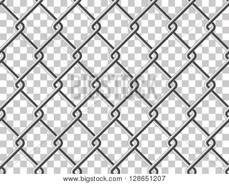 Steel mesh metal fence seamless transparent structure. Vector illustration. EPS 10.