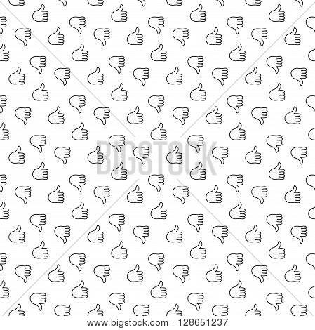 Thumb up thumb down seamless pattern. Vector illustration. EPS 10.