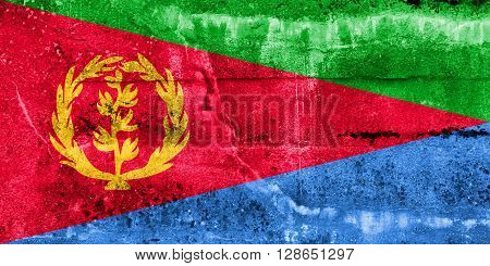 Eritrea Flag painted on grunge wall. Vintage and old look.