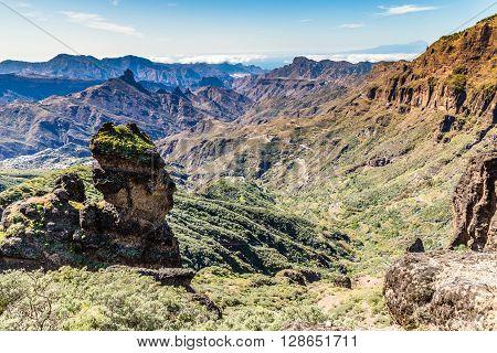 Caldera De Tejeda From Cruz de Tejeda Viewpoint - Tejeda Gran Canaria Canary Islands Spain