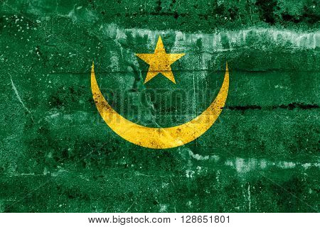 Mauritania Flag painted on grunge wall. Vintage and old look