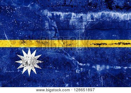 Nauru Flag painted on grunge wall. Vintage and old look