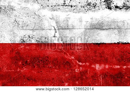 Poland Flag painted on grunge wall. Vintage and old look