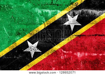 Saint Kitts And Nevis Flag Painted On Grunge Wall