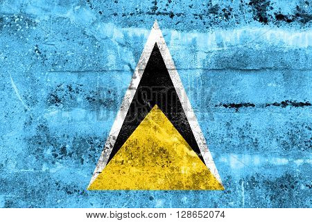 Saint Lucia Flag Painted On Grunge Wall