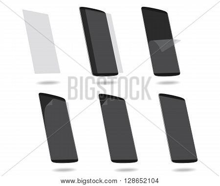 Black smart phones protection film on screen set different steps. Vector illustration. EPS 10. No gradients. Raw materials are easy to edit.