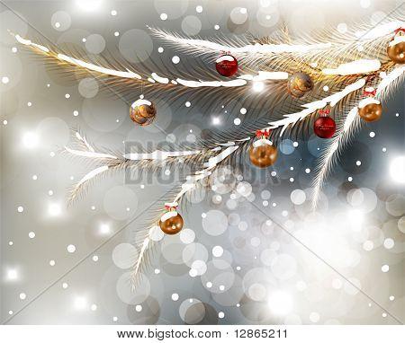 Resumen de tarjeta de Navidad con copos de nieve blancas, ramas de árbol de la piel, adornos y luces de invierno