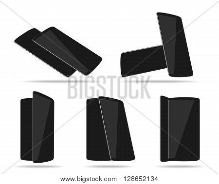 Black smartphones face with back different foreshortening. Vector illustration. EPS 10. No transparency. No gradients. Raw materials are easy to edit.