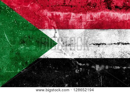 Sudan Flag painted on grunge wall. Vintage and old look