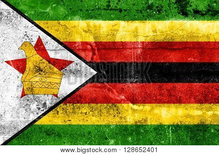 Zimbabwe Flag painted on grunge, old wall