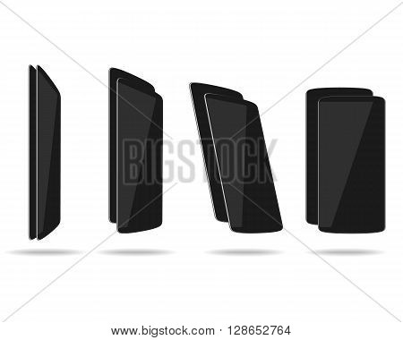 Black thin smartphones face and back different foreshortening. Vector illustration. EPS 10. No transparency. No gradients. Raw materials are easy to edit.