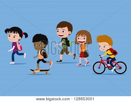 Children going to school. Cartoon illustration of cute five kids on their way to school.