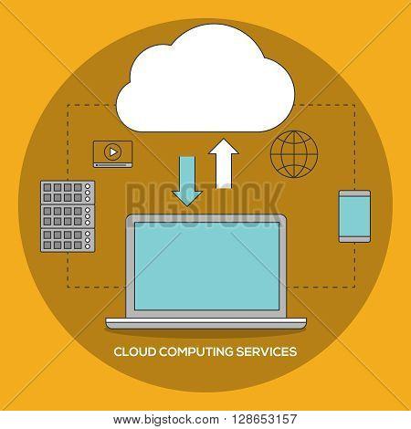 Cloud computing services. Data exchange vector ilustration