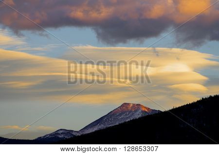 Clouds and hills at sunset in Colorado, Usa.