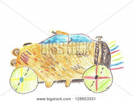 Child drawing car. Trip by car. Pencil drawing on paper