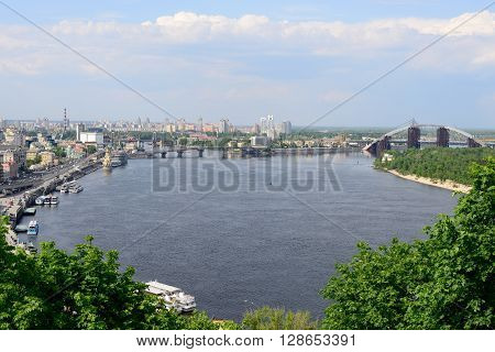 View of the Dnipro River in Kyiv Podil