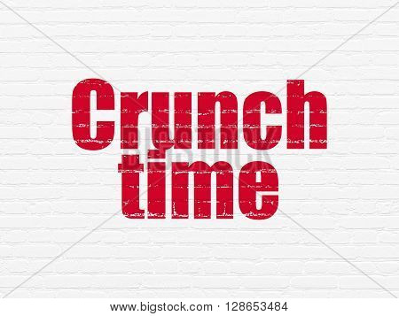 Business concept: Painted red text Crunch Time on White Brick wall background