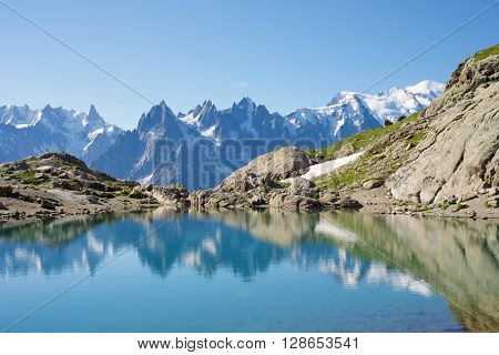 Mont Blanc Peak reflected in Lac Blanc, Mont Blanc Massif, Alps, France