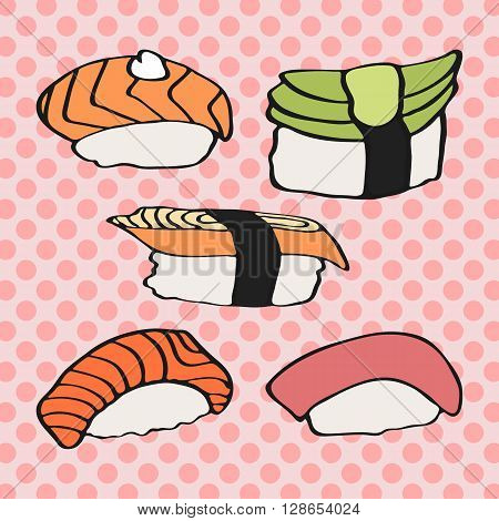 Sushi nigiri icons set. Hand-drawn cartoon collection of japanese food. Doodle drawing. Vector illustration