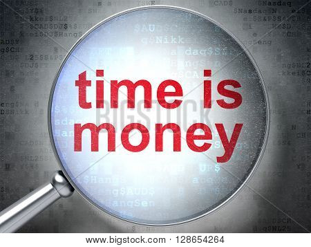 Business concept: magnifying optical glass with words Time is Money on digital background, 3D rendering
