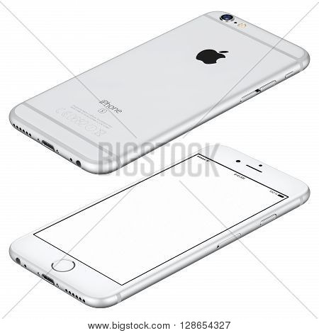 Varna Bulgaria - October 25 2015: Silver Apple iPhone 6s mockup lies on the surface clockwise rotated with white screen and back side with Apple Inc logo. Isolated on white.