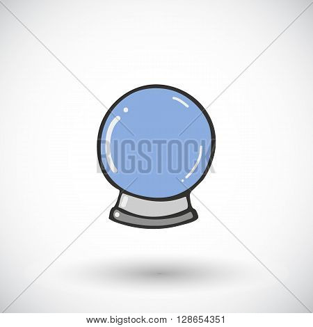 Crystal ball sketch. Hand-drawn magic icon with round shadow. Doodle drawing. Vector illustration
