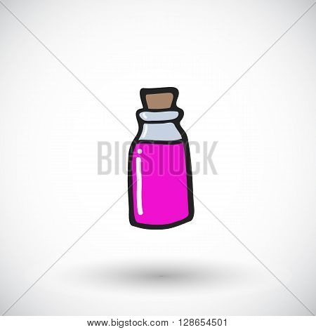 Love potion sketch. Hand-drawn magic icon with round shadow. Doodle drawing. Vector illustration