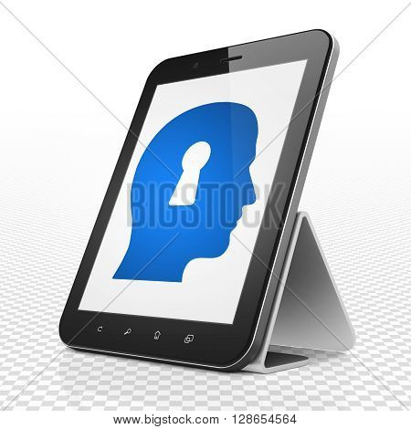 Finance concept: Tablet Computer with blue Head With Keyhole icon on display, 3D rendering