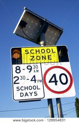School zone sign near a primary school, Australia