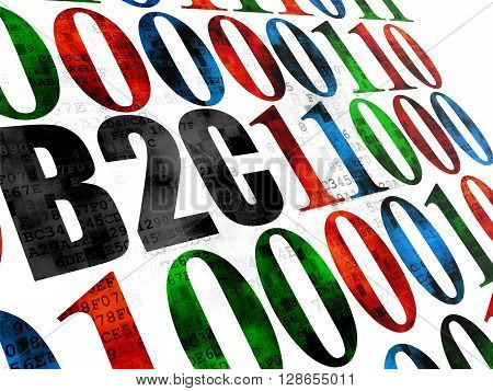 Business concept: Pixelated black text B2c on Digital wall background with Binary Code