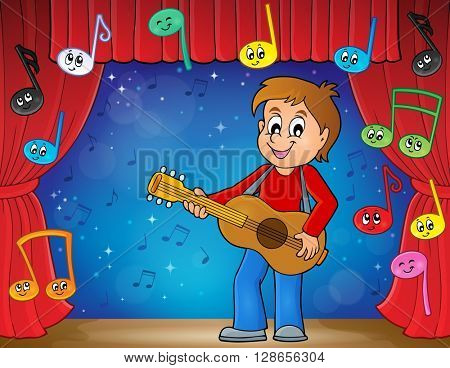 Boy guitar player on stage theme 2 - eps10 vector illustration.