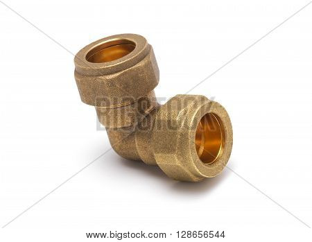 Corner brass compression Joint isolated on a white background