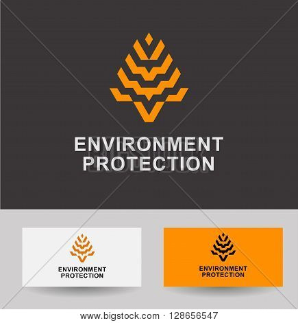 Business Icon - environment protection, vector logo concept illustration plant corn, grain. Organic logo. Ecology logo. Leafs logo. Bio logo. Nature organic logo. Agriculture logo. Vector logo template.